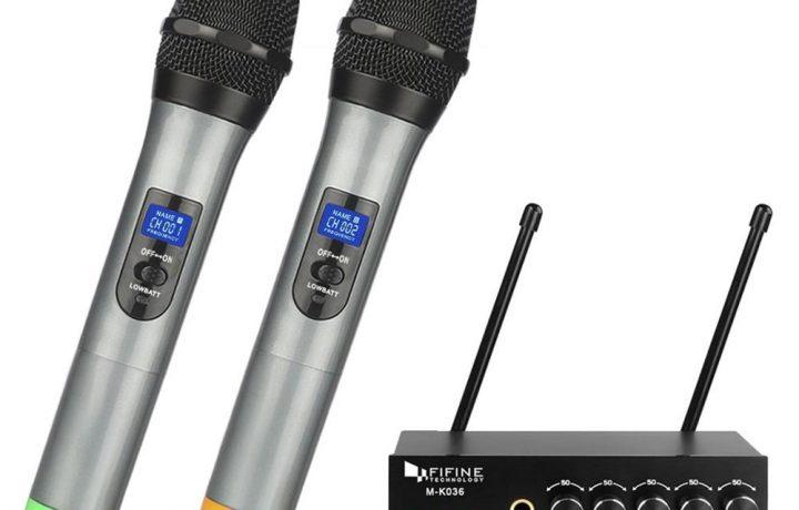 Fifine bán buôn không dây kép cầm tay Karaoke Microphone hệ thống 3-9 miếng